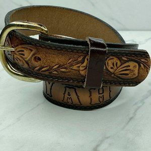 Tooled Floral Butterfly Brown Leather Belt Size 22